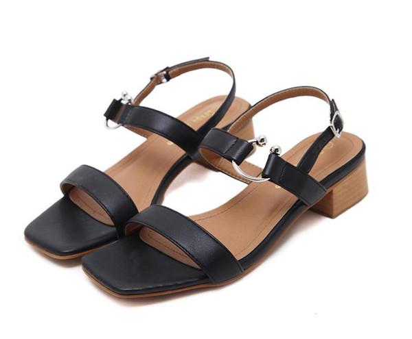 Fashion Girl Street Style Metal Hook Chunky Low Heel Sandals Women Summer Shoes PU Beige Black Size 35 to 39