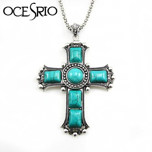 Wholesale-2016 Turquoise cross pendant neckalce silver chain large necklace for women jewelry vintage accessories gift dress nke-j84