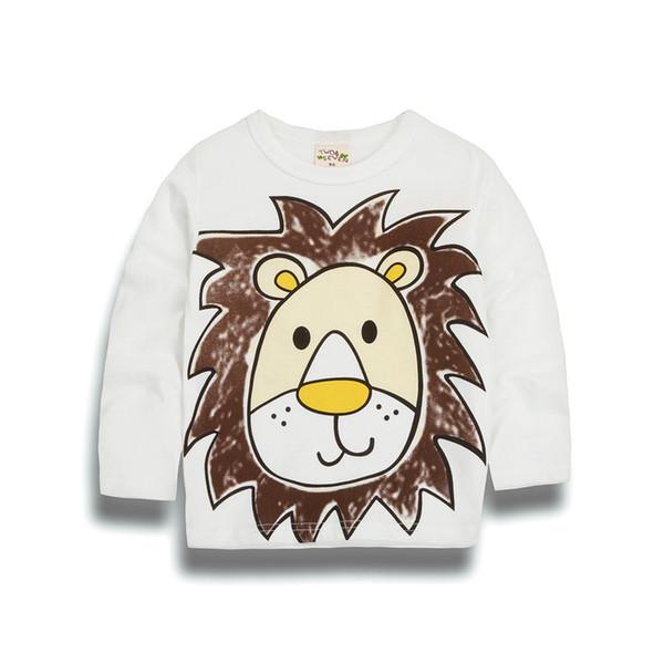 Alta calidad SpringAutumn Baby girlsboys Ocio O-cuello Animal de manga larga de algodón de dibujos animados T-shirt niños Ropa de múltiples colores