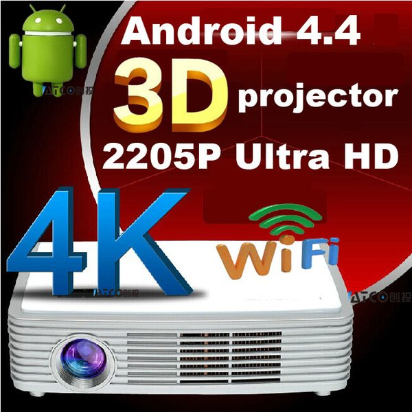 Wholesale-ATCO Android 4.4 Smart Blu-ray 2205P 3D Real HD LED DLP Miracast 4K Projector Data Show Proyector Beamer Perfect for home office
