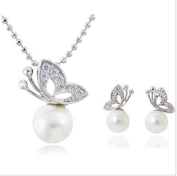 Fashion Full Rhinestone Butterfly imitation pearl romantic Earrings/Necklace Jewelry Sets Wholesale For Women C33