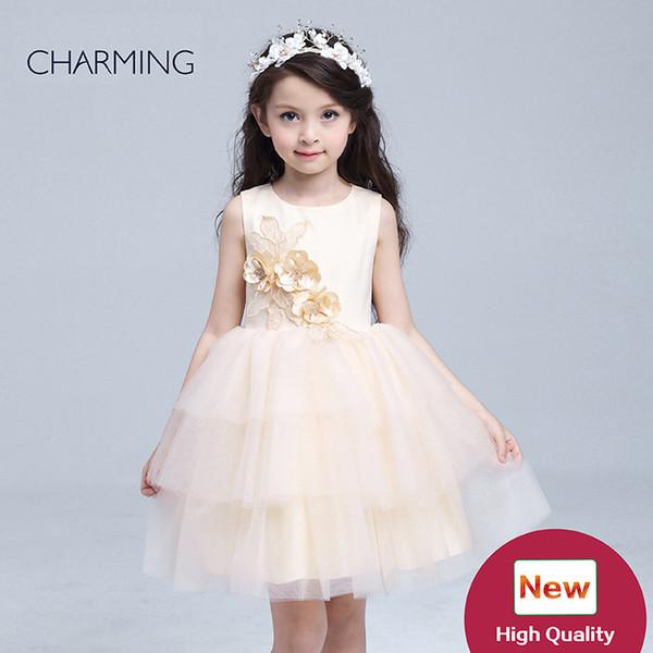 Şampanya çiçek kız elbiseler ve kızlar için pageants elbiseler çocuklar tasarımcı çin'den toptan dresse toptan ürünleri şampanya çiçek kız dresse