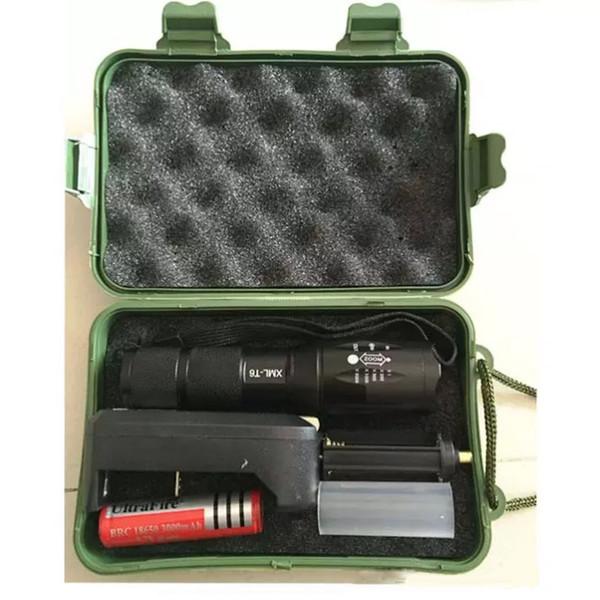 XML T6 LED plongée lampes de poche étanche led lampe lumière torche avec 18650 boîte cadeau chargeur de batterie