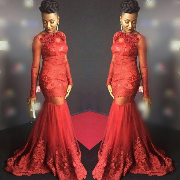 South African Red Mermaid Prom Dresses 2018 Sheer Long Sleeves Lace Appliques See Through Evening Gowns Tulle Sweep Train Formal Party Dress