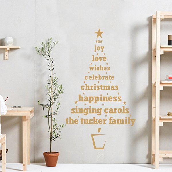 Christmas Tree Wall Sticker Murals Quote Window Stickers Glass Wall Decorative Decals Shop and Home Decoration