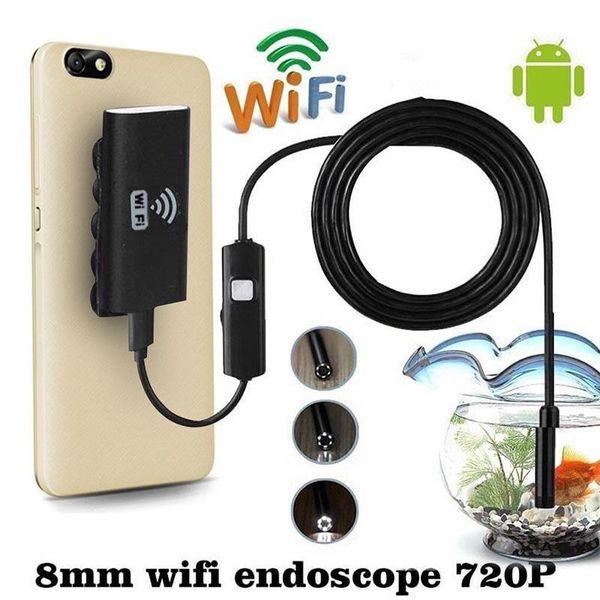 Оптово-1 / 1,5 / 2 / 3,5 м 8 мм Беспроводной эндоскоп WIFI Водонепроницаемый LED HD 1.0MP камера для iPhone Android Профессиональная змея Мини камера подарки