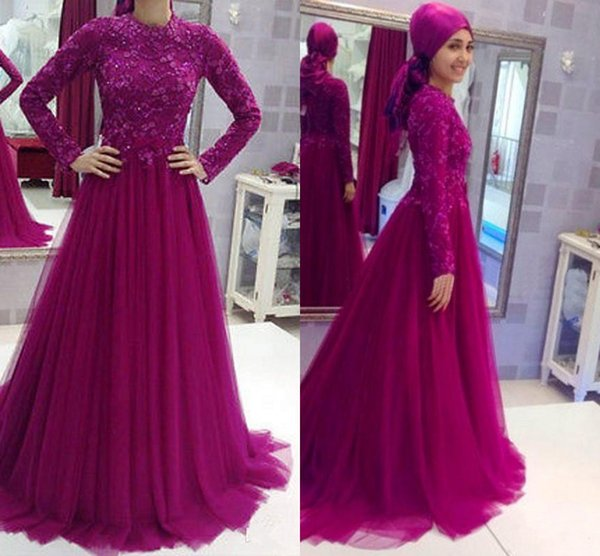 2017 Grape Lace Long Sleeves Kaftan Dubai Muslim Evening Gowns Women Wear With Hijab High Neck Beaded Formal Prom Party Dresses