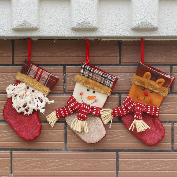 3Pieces / Lot Bas de Noël Chaussettes Plaid Santa Claus Candy Gift Bag Noël Santa Claus Snowman Tree Hanging Ornament Decoration
