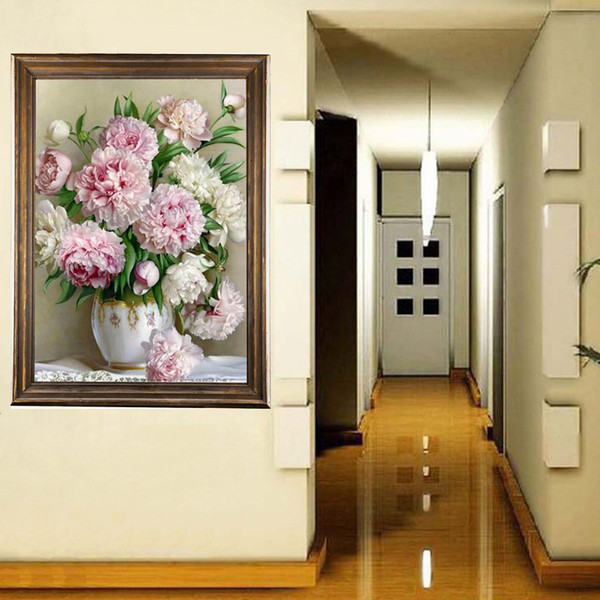 best selling Fashion 5D Round Drill Peony Home Decoration Diy Diamond Painting Peony Floral Needlework Full Diamond Embroidery Painting