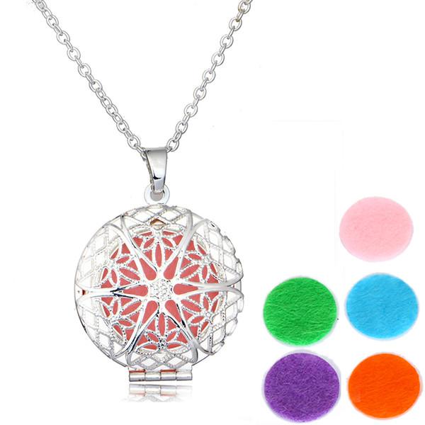 925 Gümüş Kaplama Yuvarlak Çiçek Parfüm Uçucu Yağ Difüzörü Kolye Aromaterapi Madalyon kolye ile Kadınlar takı için 6 adet Keçe Pedleri