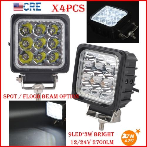 "DHL 4PCS 4"" 27W CREE Chips LED Driving Work Light Square 9LED*3W Offroad SUV ATV 4WD 4x4 Spot Pencil / Flood Spread Beam 2700LM Super Bright"