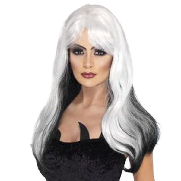 Cosplay Lolita Harajuku Cartoon Wig Cheap Long Body Wave White Ombre Black Hair Wigs Side Bang Heat Resistant Wigs
