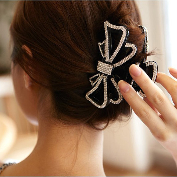 Extra Large Crystal Bow Hair Accessories Hair Claws Jaw Clips Girls Long Thick Hair Holder for Women Black Headwear Tiara HC810