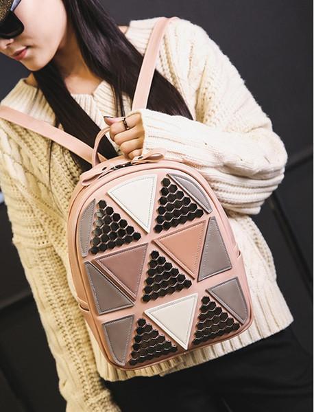 New women rivet backpack lady fashion travel bag female single doulbe shoulder purse black/pink/purple color no360