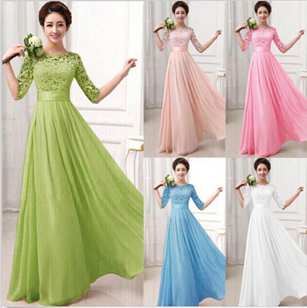 Nueva marca vestidos de dama de primavera de encaje de gasa sexy fiesta de noche larga media manga elegante de las mujeres vestido de fiesta bodycon maxi vestidos