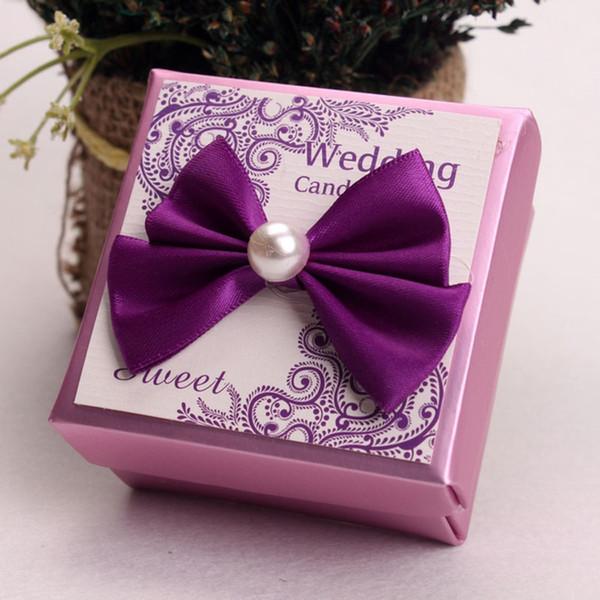 Style européen violet rose boîte à bonbons de mariage avec la décoration de l'arc faveurs de cadeau boîtes cadeaux sucre sucré emballage ZA3845