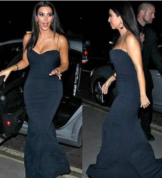 Free Shipping Vestidos Kim Kardashian Evening Dresses Mermaid Sweetheart Spaghetti Straps Black Floor Length Long Red Carpet Gown