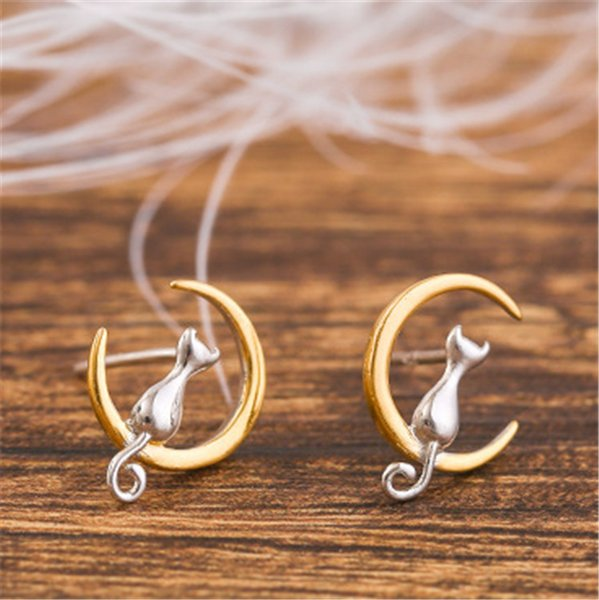 Free Shipping 10 Pairs Newest Fashion 925 Silver Cat On The Moon Stud Earrings Gold Moon Kitty Earring Fashion Jewelry Valentine's Day Gift