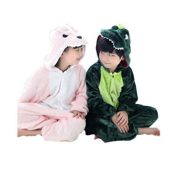 cute kids one-piece pajamas cartoon dragon/dinosaur thick sleepwear for 3-10yrs chilren boys girls onesie pajamas night clothes