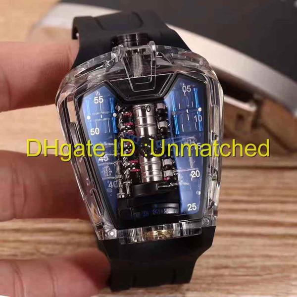 2019 top luxo homens transparente relógio novo MP-05 mecânico automático de alta qualidade mens relógios pulseira de borracha natural esportes relógios de pulso