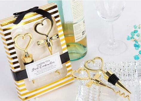 DHL 40pcs=20Sets/lot Gold Cheers to a Great Combination Wine Set Heart Wine Stopper Corkscrew Wedding Favors Party Gifts