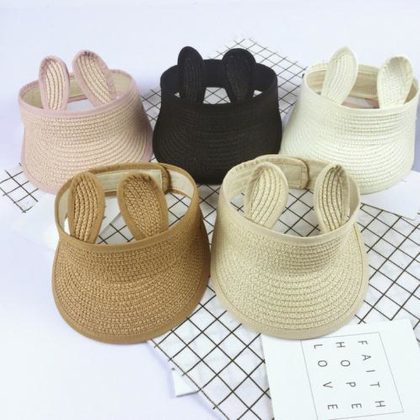 Summer Children Straw Hat New Cartoon Rabbit Long - Ear Empty Top Hat Sun Hat Child Girl Boy Sun Visor Cap
