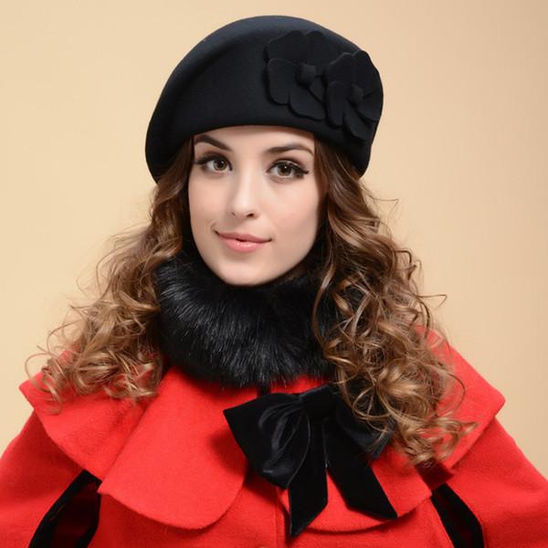 dc5021a05a2 Wholesale-Fashion Women Flower Beret Cap Winter New Sweet Style Warm Soft Wool  Floral Hat