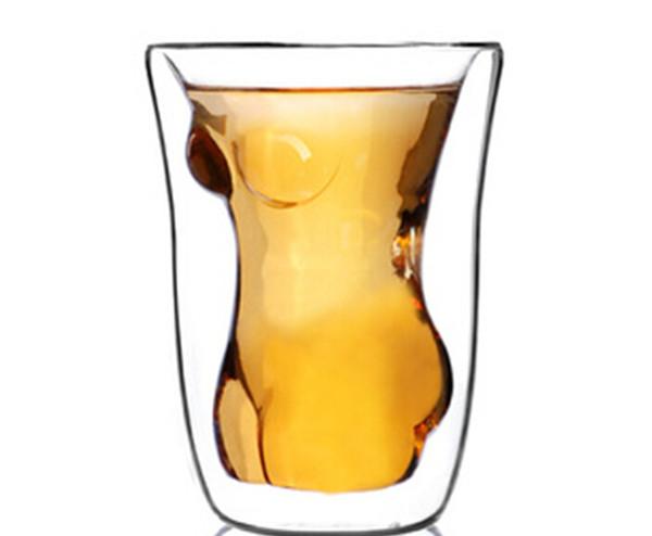 1PC Handmade Beauty cup fashion creative fruit juice drink ice cream double glass red wine glass cup J1035