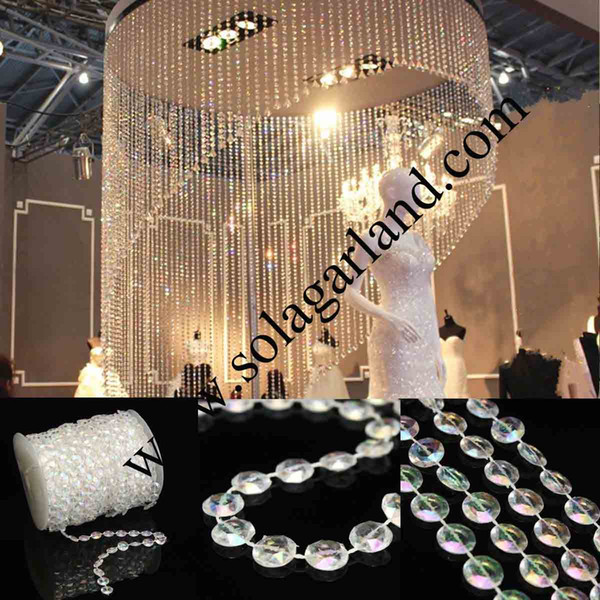 Wholesale 99 Feet Acrylic Clear Bubble Beads Roll Garland Acrylic Crystal Faceted Bead Garland String For Wedding Curtain Centerpiece Decor