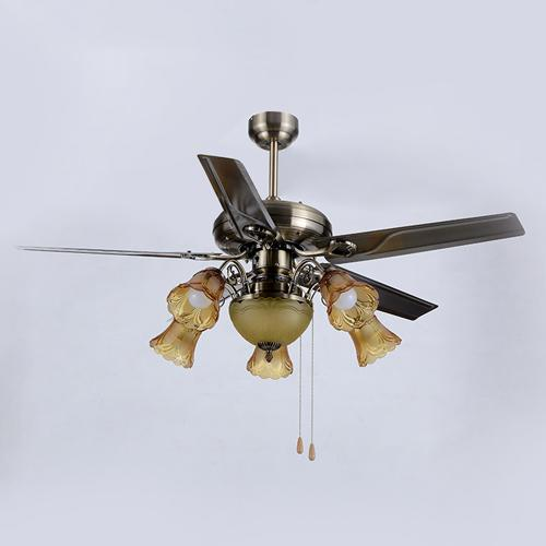 Retro European American style LED ceiling fans lights 48 inches 124 cm 5 iron blades leaves mute energy-saving led ceiling fan light