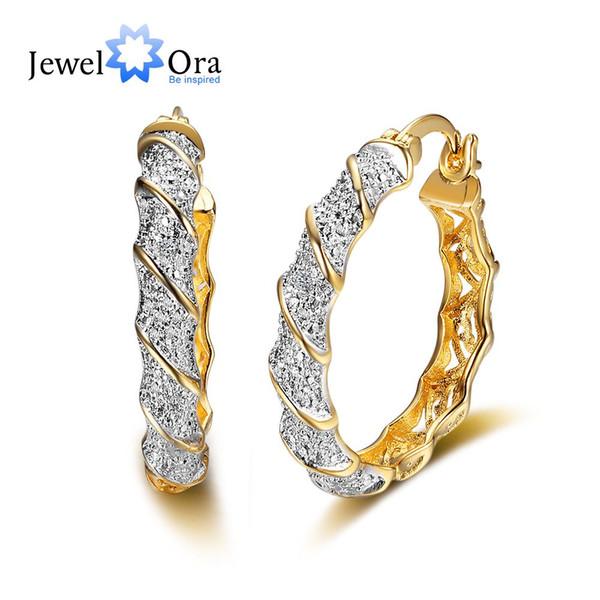 Orecchini a cerchio lussuosi con zirconi placcati oro classico per le donne Accessori per feste trendy in stile europeo (EA101789) 17401