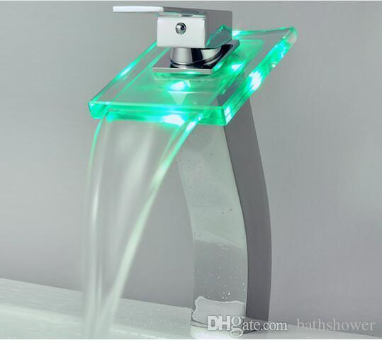 Glass Square Waterfall Basin Faucet Restaurant Bathroom Water Power RGB Led Light Tap