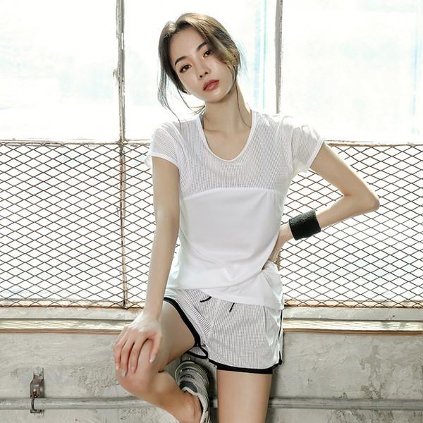 Koreanischer Sommer Sport Anzug drei Sätze von Frauen Fitness-Studio Yoga laufen Fitness Kleidung Geschwindigkeit trocknen Gitter Yogakleidung
