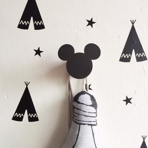 Wholesale- Cute mouse wooden hook hangers for kids room wall decorate ECO hanger hook for kids present