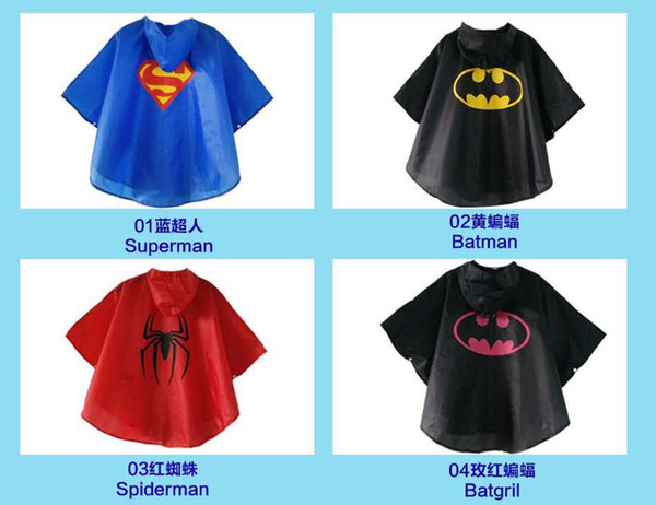 Hot sale Kids Rain Coat children Raincoat Rainwear Rainsuit Kids Waterproof Superhero Raincoat DHL free shipping
