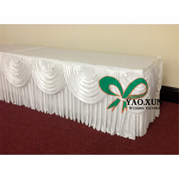 top popular 100% Ice Silk Table Skirt With Swag Drape For Wedding In White Color 2020