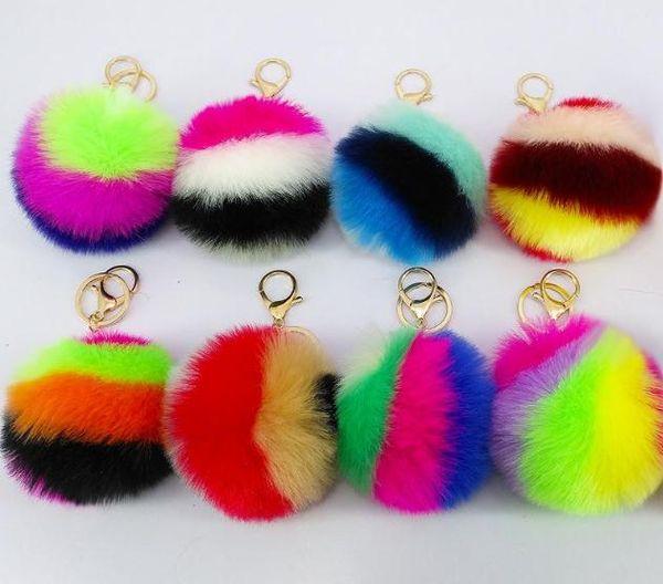 Colorful Rabbit Fur Ball Plush Key Chains Car Keychain Bag Pendant Fashion Accessories