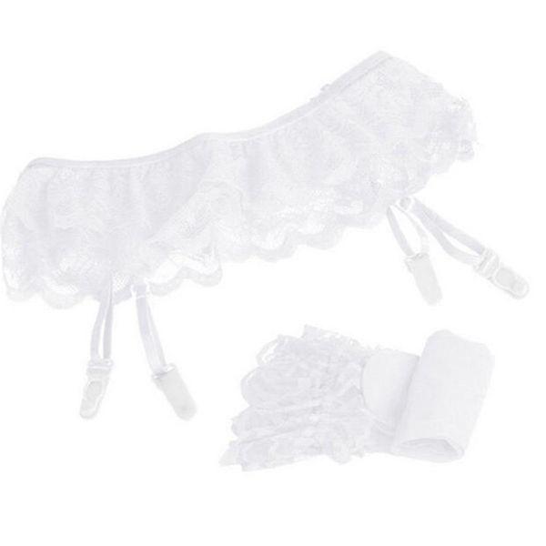 snowshine #4001 Womens Lace Top Thigh-Highs Stockings Socks + Suspender Garter Belt