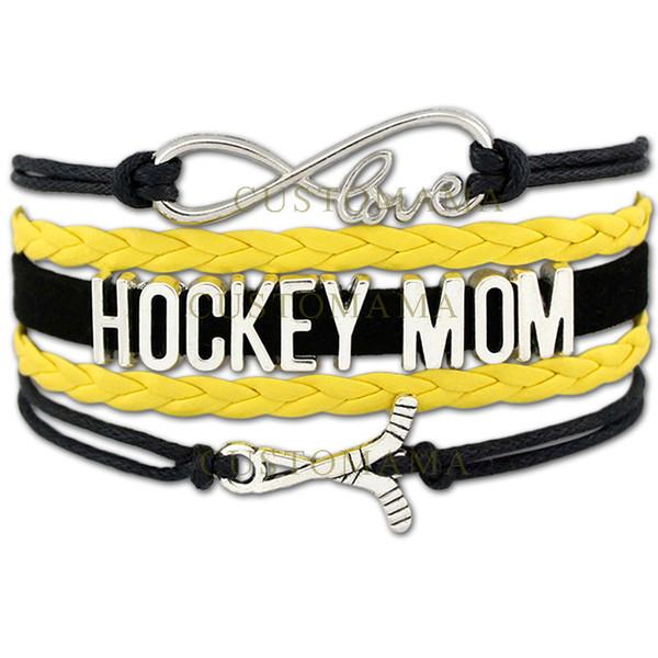 Custom-Infinity Love Hockey Mom Bracelet Ice Hockey Sport Team Adjustable Bracelet Wax Cords Wrap Braided Leather Bangles-Drop Shipping