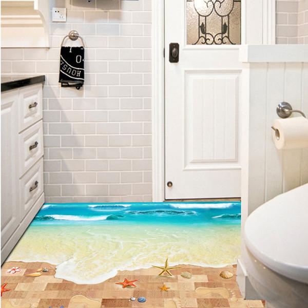 Großhandel 3D Seabeach Wasserdichte Boden Aufkleber Wandaufkleber Tapete  Wandkunst Für Wohnzimmer Badezimmer Küche Kostenloser Versand Von Kity12,  ...