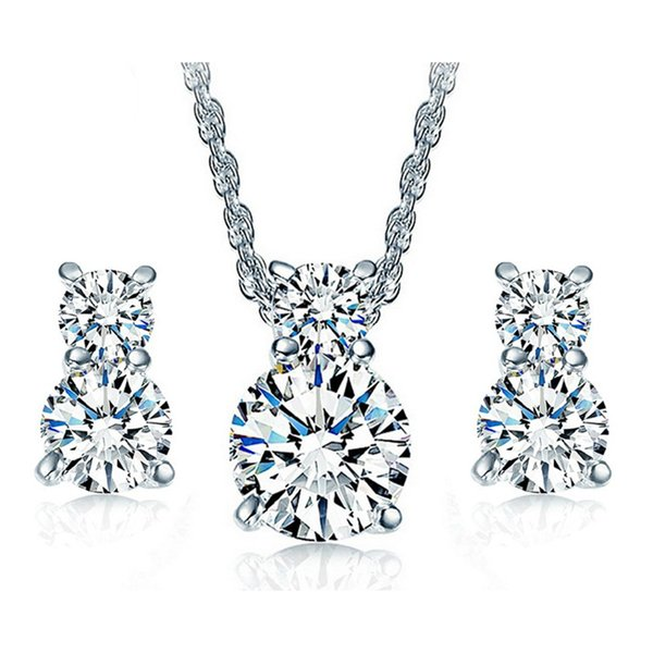 best selling 18K White Gold Plated Clear Cubic Zirconia CZ Cute Kitty Cat Stud Earrings Chain Necklace Kids Jewelry Sets for Children Girls