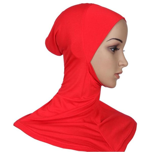 Atacado-21 Cores Hijab Headwear Cobertura Completa Underscarf Ninja Inner Pescoço No Peito Plain Hat Cap Scarf Bonnet