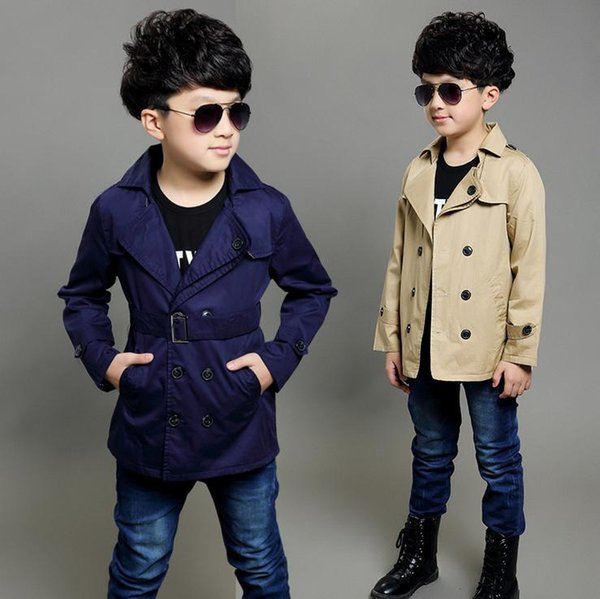 top popular simple classic kids boy trench coat gentle soild Spring causal trench coat for 4-12years boys male children outerwear clothes hot 2019