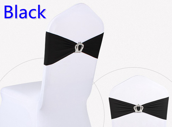 Black colour Crown buckle lycra sash for wedding chairs decoration spandex band stretch bow tie lycra ribbon belt on sale