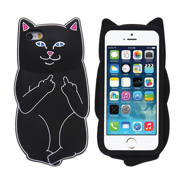 3D Soft Silicon Cat Case For Iphone7 Iphone 7 Plus Cartoon Animals Rubber Middle Finger Cover For iPhone 6S Plus