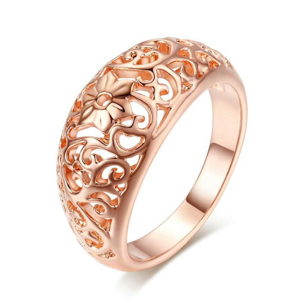 Top Quality Flower Hollowing Craft Rose Gold Color Ring Fashion Jewelry Full Sizes Wholesale Free Shipping