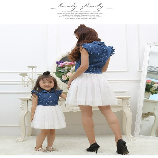 Mother Daughter Dresses 2017 Summer Family Clothing Mom and Daughter Dress Family Matching Outfits Dress for Kids and Women Gift