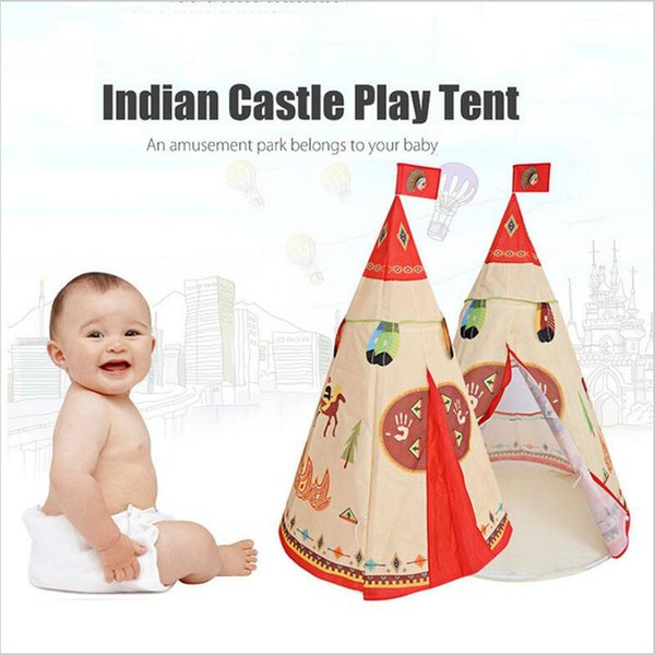 Portable Tent Castle Play Kids Activity Teepee Indian Style Indoor Outdoor Playhouse Beach Tent Baby Playing Toy