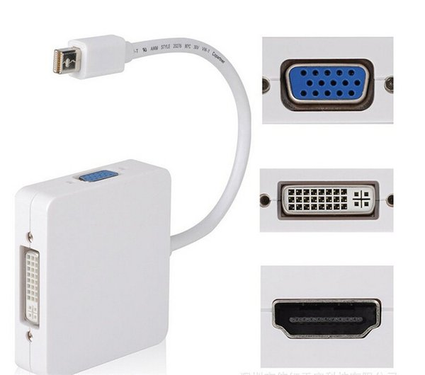 Mini DisplayPort (3 in 1) Thunderbolt to HDMI/DVI/VGA Display Port Cable Adapter for Apple Macbook Pro Microsoft Surface Pro 2 3