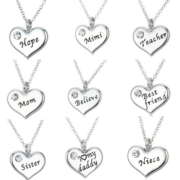 Hot sale Diamond Necklace Family Series Big Letter Series Nurse Teacher Niece Father WFN109 (with chain) mix order 20 pieces a lot